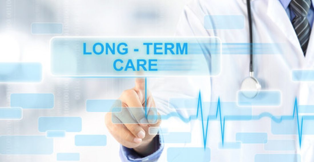 42675052 - doctor hand touching long - term care sign on virtual screen