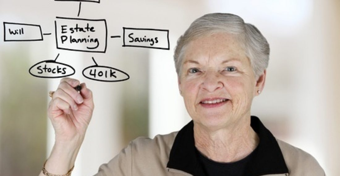 13399001 - a senior woman planning out her estate