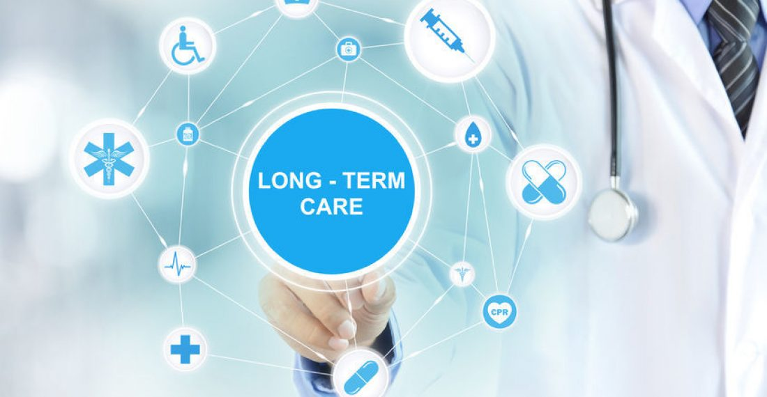41303017 - doctor hand touching long term care sign on virtual screen