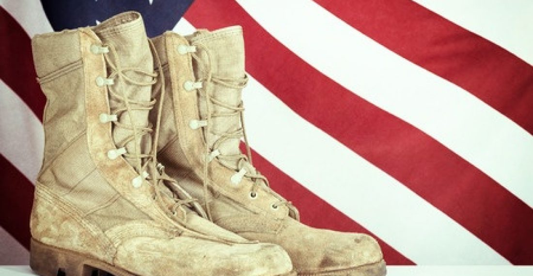 39482427 - old combat boots with american flag in the background. vintage filter effect.